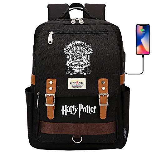 DDDWWW Mochila Unisex de la Tienda de la Varita del Bolso de la Escuela mágica de la Juventud, Mochila de Montar Informal de la Moda de Harry Potter 42CM/30CM/16CM Negro