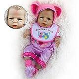 Reborn Baby, 22'Babypuppe kurzes Haar braune Haut mit einteiligem Anzug und Schnullerpuppe niedliches Spielhaus