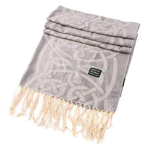 Traditional Pashmina Scarf With Celtic Knotwork Design, Grey Colour