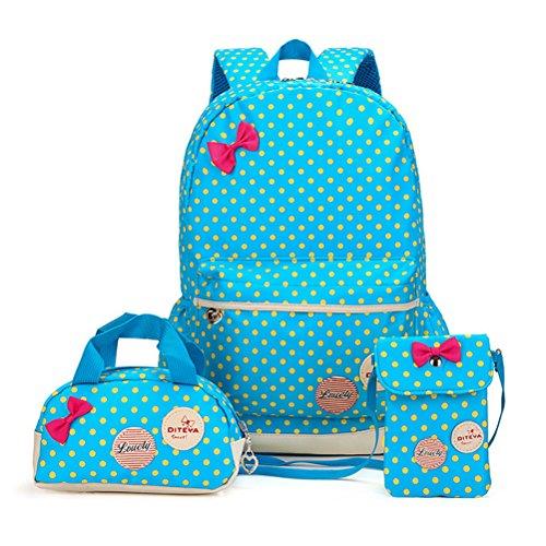 MCUILEE Conjunto de 3 Polka Dot mochilas escolares/escolares bolsas/mochila niños niñas adolescentes + mini bolso + bolso crossbody (Azul)