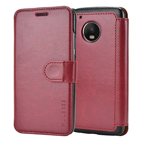 Mulbess Handyhülle für Motorola Moto G5 Hülle Leder, Layered Dandy Tasche Flip Handytasche Klapphülle für Motorola G5 Schutzhülle Cover Etui, Wein Rot