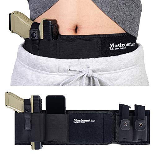 Belly Band Holster for Concealed Carry - Mostcomtac Gun Holsters for Men Women, Waist Holster for Pistols, Fit Glock, Ruger Lcp, S&W M&P 40 Shield Bodyguard, Sig Sauer,?Beretta, 1911, Etc