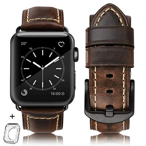 Compatible for Apple Watch Band 42mm 44mm Men,Top Grain Leather Band Replacement Strap iWatch Series 6/5/ 4/ 3/ 2/ 1,SE,Sport, Edition. Retro Leather (Retro coffee+Black buckle, 42mm44mm)