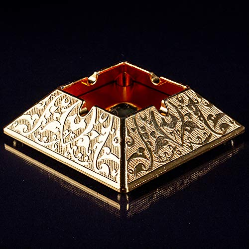 Vintage Fancy Cigar Ashtray for Cigarettes Outdoor Ash Tray for Patio Indoor Home Balcony Ashtrays Cool Cute Gold Decorative Unique Large Small Stainless Gift for Women Men Accessories