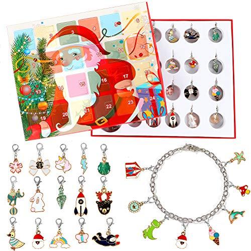 vamei Adventskalender Mädchen Weinachtskalender Kinder Schmuck Armband DIY Halskette Weihnachten Geschenk Mädchen für Damen Mädchen (Inklusive Armband und Halskette) (B)