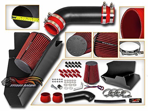 S&T Racing Air Intake Compatible with Chevrolet/GMC C/K 1500/2500/3500 V8 5.0L/5.7L 96-00   Cold Heat Shield Matte Black + RED Filter