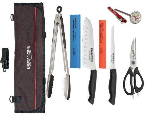 8 piece Professional knife Kit, Santoku, boning knife, Come apart shears, 12 inch Tongs, Thermometer, Edge Guards and Chef bag