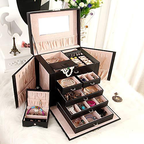 Asvert Caja Joyero Caja para joyerías con Espejo 26.5 x 19.8 x 23cm Caja Joyero de Joyas para Viaje
