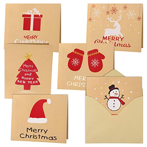 30Pcs Tarjetas de Felicitación de Feliz Navidad Tarjetas de Kraft Tarjetas navideñas con Sobres y Pegatinas, 4.72 x 3.95 pulgadas