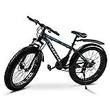 Tazzaka Bicicleta de Montaña, Bici para Hombre Adulto Mujer con Rueda Gorda 26 * 4.0 Pulgadas, Shimano 21 Velocidad Variable Bike, Marco de Acero de Alto Carbono y Freno de Disco para Playa Nieve.