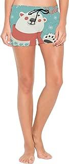 Polar Bear Waving Holiday Beach Shorts for Woman Summer Sexy Fashion Beach Board Shorts Black
