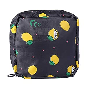 TOPBATHY Sanitary Napkin Pad Storage Bag Sanitary Pad Organizer Bag Purse Holder Sanitary Towel Container for Women (Black)