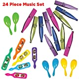 AbbyRose Bulk Noisemakers Party Favors | 24 Assorted Musical Instruments for Boys and Girls | 6 Each: Kazoos,...