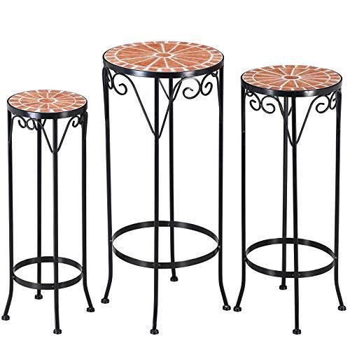 Deuba Mosaik Blumenhocker Blumenständer 3er Set Mosaik Tischplatte Rund Ø30/ 25 /20cm Metall Beistelltisch Mosaiktisch
