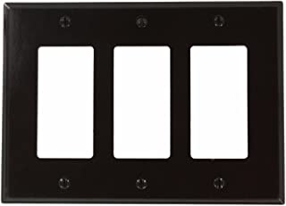 Leviton 80611 3-Gang Decora Midway Size Smooth Plastic Wallplate, Brown