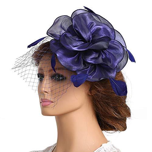 Fashband Fascinator mit Vogelkäfig-Schleier, Blumen-Netz-Federn auf einem Haarband und einem Clip, für Cocktailpartys, Derby Kentucky Rennen, Zeremonie, Hochzeit, für Mädchen und Frauen (Marineblau)