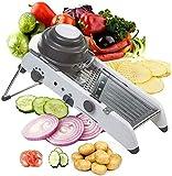 cortador de patatas Mandolina Slicer ajustable, sin BPA Veggie Spiralizer rebanadoras, 18 en 1 cortador de verduras profesional, for rebanar las frutas de corte, patata, tomate, cebolla, queso, ensala