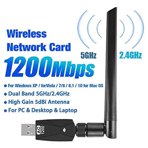 oshidede USB-WLAN-Adapter 1200 Mbit/S, Drahtloser Netzwerkadapter Mit Dualband 5,8 GHz / 2,4 GHz, USB 3.0-WLAN
