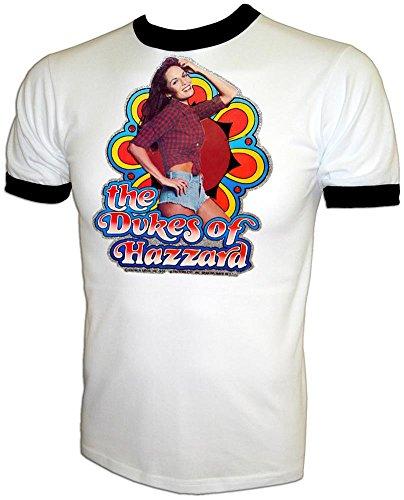 Vintage 80's Daisy Duke Catherine Bach The Dukes of Hazzard Ringer T-Shirt White