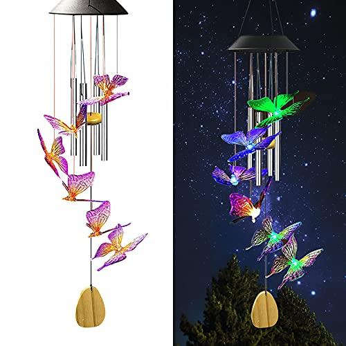 Solfjäril vindspel med klockor utomhus vattentäta med 7 färger som byter fjäril LED solljus mobil hängande vindspel musikrör önskan hänge dekor för trädgård uteplats gård hem fönster