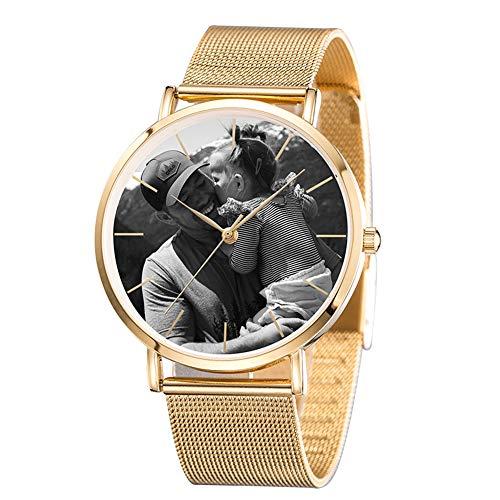 Junmei Reloj fotográfico Personalizado para Hombres, Reloj Grabado Reloj de Pulsera de Acero Inoxidable Personalizado Regalo del día del Padre - Personalizado con su Propia Imagen