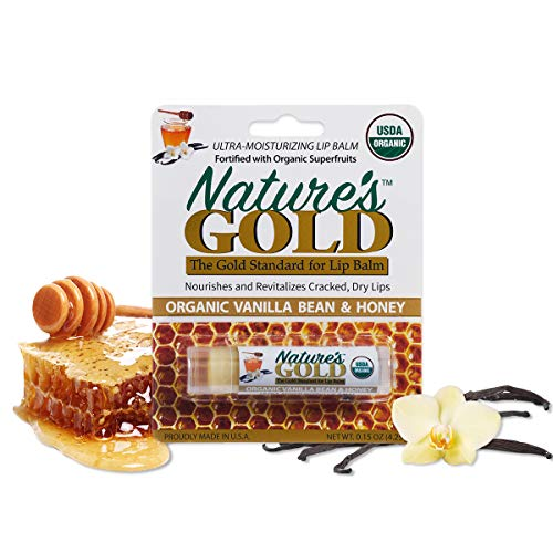 Nature's Gold USDA Certified Organic Super-Healing Lip Balm Value Pack of 3. Amazing Vanilla Bean Flavor with Cocoa Butter and Shea Butter. Fast Relief for Cracked, Dry and Chapped Lips!