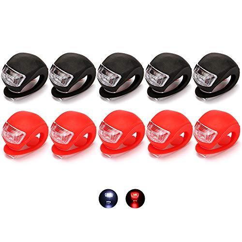 QUMENEY 10PCS Fahrradleuchten-Set aus Silikongehäuse, wasserdichte LED-Fahrradleuchten zum Aufstecken, Fahrradleuchten vorne und hinten für Fahrradsicherheit (2 Farben)
