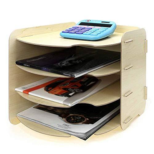 Ablagefächer Kreative Docking A4 Office Holz Multi-Layer-Lagerregal Minimalistisches Design Lagerregal Gebogen Organisatoren für Schreibtischbedarf (Color : A, Size : 26x31x27cm)