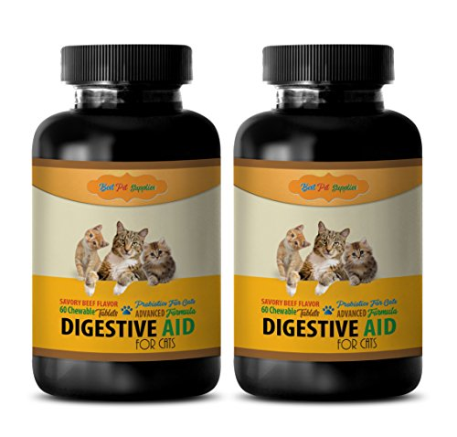 cat Digestive Care Food - CAT Digestive AID - PROBIOTIC Benefits - Best Results - Digestive Supplements for Cats - 120 Chews (2 Bottle)
