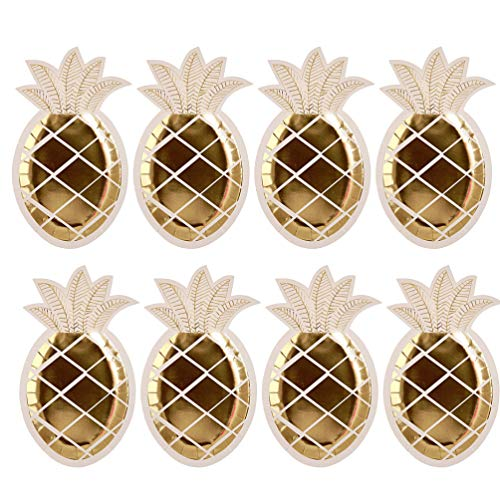 NUOBESTY 8Pcs Platos de Piña Vajilla Desechable Set Platos de Papel de...