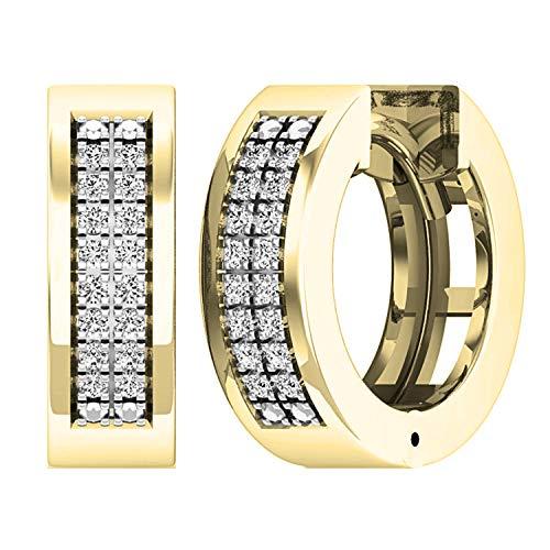 Dazzlingrock Collection 0.12 Carat (ctw) Round Lab Grown White Diamond Mens Ladies Unisex Huggies Hoop Earrings, 10K Yellow Gold
