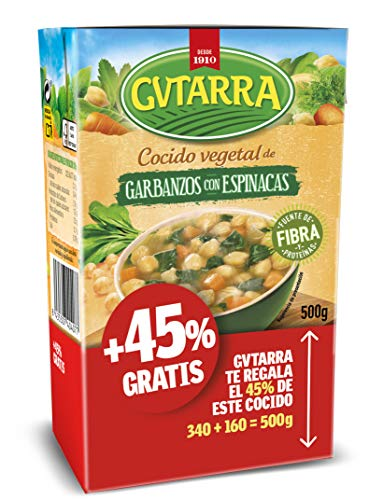 Cocido De Garbanzos Con Espinacas, Platos Preparados, Sin Gluten, Tetra