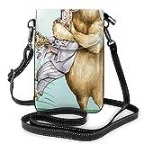 Women Small Cell Phone Purse Crossbody,Big Bear Fully Hugs The Pastry Animal Love Humor Satire Romance Theme Artful