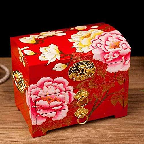 Caja de joyería de, diseño de patrón de Flores Espejo de joyería de Madera Espejo Treasure Treasure Drawer Lacador Caja, Caja de joyería de Laca de Madera Pintada a Mano clásica