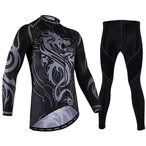 TTPF Ciclismo Jersey Conjunto de Manga Larga Ropa Deportiva Montaña 3D Pantalones Gruesos Pantalones Transpirable Secado rápido para Exteriores Primavera Otoño,XXXL