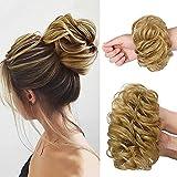 2PCS Messy Bun Hair Piece 100% Human Hair Scrunchies Buns Hair Pieces for Women Curly Wavy Black Bun Elegant Chignons Wedding (2PCS Human hair, dark blonde)