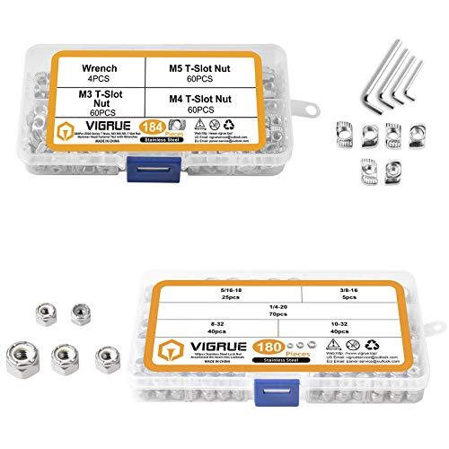 VIGRUE 180PCS 1/4-20 5/16-18 3/8-16 8-32 10-32 Lock Nuts Nylon Insert Nut and 180Pcs 2020 Series T Nuts, M3 M4 M5 T Slot Nut