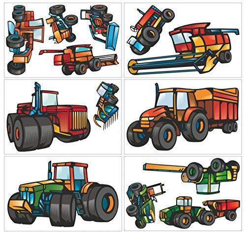 Samunshi® 13-teiliges Trecker Traktor und Fahrzeug Set Wandtattoo Mähdrescher Kinderzimmer Wandsticker in 3 Größen (6x16x26cm Mehrfarbig)