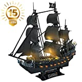 CubicFun 3D Puzzle LED 68 cm Piratenschiff Queen Anne's Revenge Sailboat und Segelboot Schiff Modell...