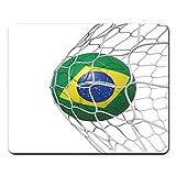 マウスパッドカップブラジルブラジルの国旗サッカーボールネット内ホワイト3Dレンダリングワールドマウスパッドノートブック、デスクトップコンピューターマウスマット、事務用品