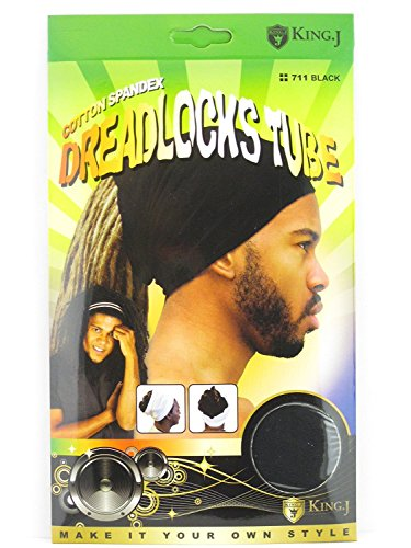 King.J Unisex Cotton Spandex Dreadlocks Tube (Black)