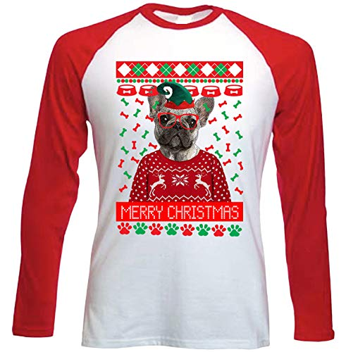 teesquare1st French Bulldog 2 Christmas Camiseta DE Mangas ROJA LARGAS T-Shirt...