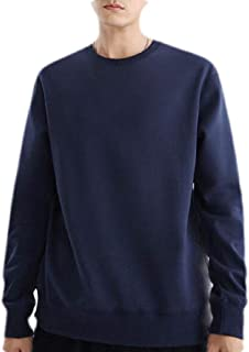 OTW Men's Solid Long Sleeve Casual Round Neck Pullover Top Sweatshirt