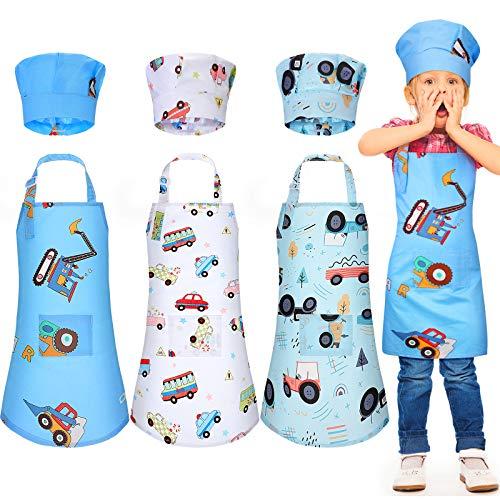 Set di 6 Grembiuli per Bambini Cappello Cuoco Grembiuli da Cucina dei Cartoni Animati dei Bambini Grembiuli Cuoco Regolabili con Tasche e Cappelli Cucina per 3-5 Anni Bambini (Stile Auto)