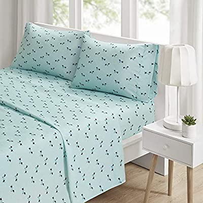 """Intelligent Design Microfiber Wrinkle Resistant, Soft Sheets with 12"""" Pocket Modern, All Season, Cozy Bedding-Set, Matching Pillow Case, Queen, Novelty Aqua Dogs"""