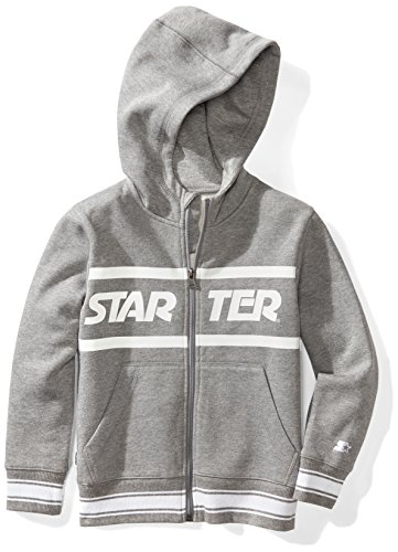 Starter Boys' Zip-Up Logo Hoodie, Amazon Exclusive, Vapor Grey Heather with Striped Rib, S (6/7)