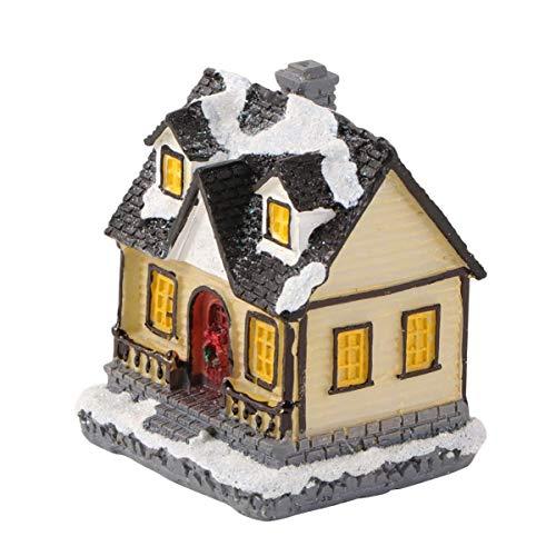 Ybzx Navidad Resplandeciente Casita Resina Mini Pueblo Casa de Nieve Adorno Planta Maceta Estatuilla Paisaje en Miniatura Accesorios para la Fiesta de Navidad Decoración del hogar