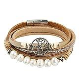 JOYMIAO Baum des Lebens Leder Armband Boho Seil Manschette Armband Perlen Wickel Armreif Fur Frauen (Beige)