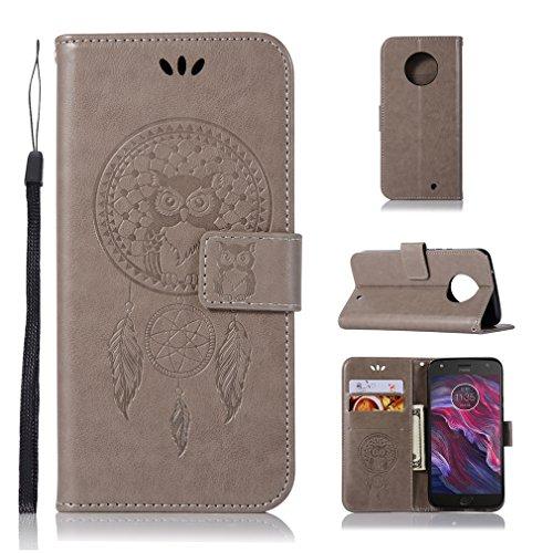 LMAZWUFULM Hülle für Motorola Moto X4 (5,2 Zoll) PU Leder Magnetverschluss Brieftasche Lederhülle Eule & Traumfänger Muster Standfunktion Ledertasche Flip Cover für Motorola X4 Grau