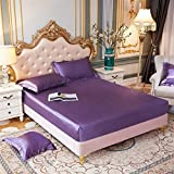 KSFBHC Hoja de Cama Satin Pitted Hoja de Color sólido Cubierta de colchón de colchón Banda Elástica Hoja de Cama (Color : Dian ya zi, Size : Pillowcases48x74cmx2)